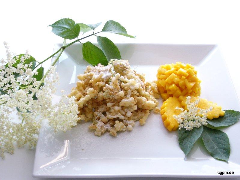 Holunderküchlein mit Mango-Kompott