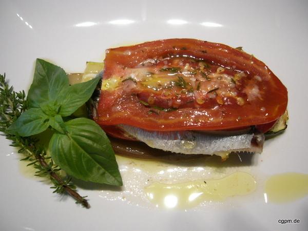 Lasagne von Sardinen und Gemüse